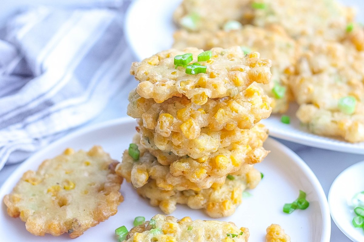 fried corn fritters in a stack