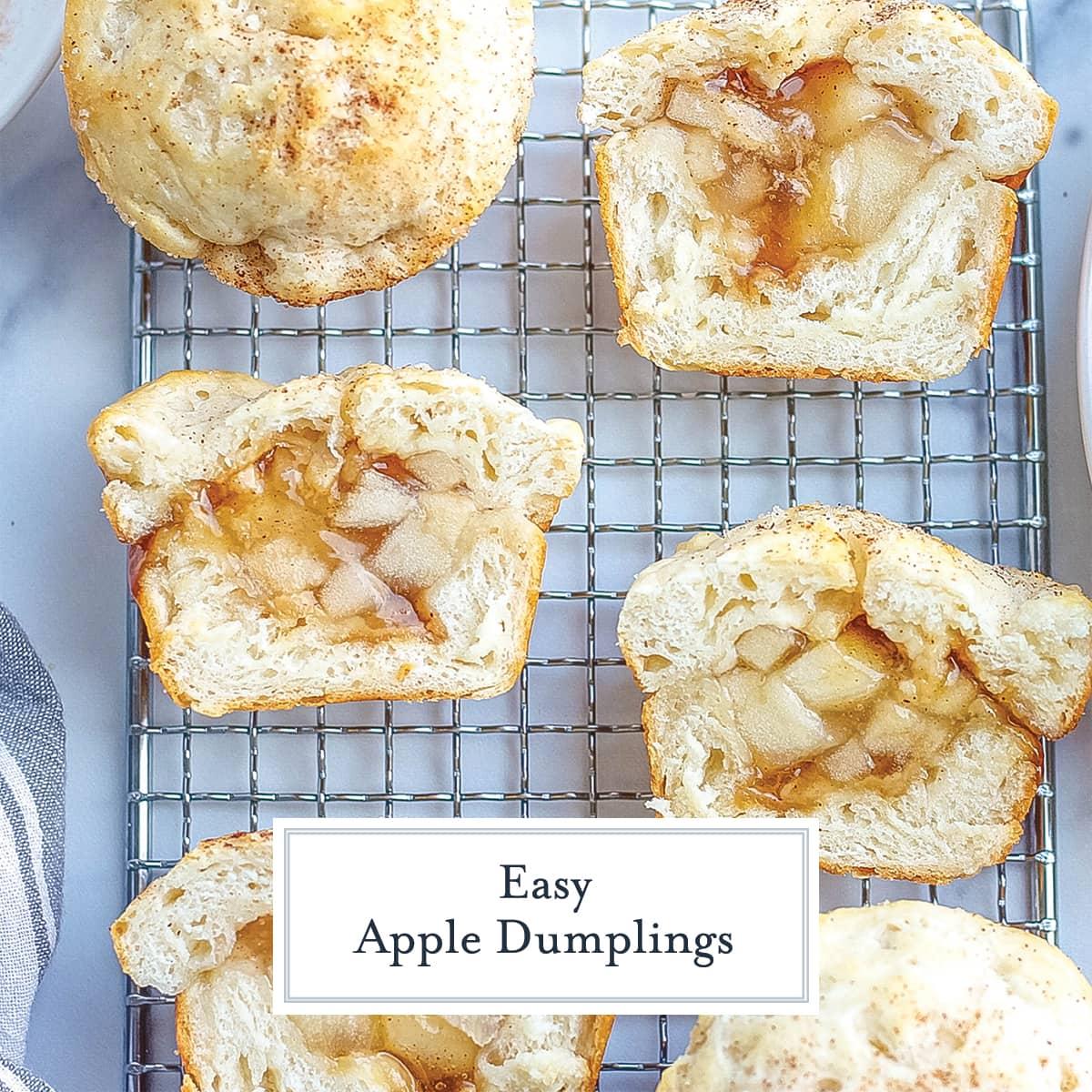 cut open apple dumplings on a wire rack
