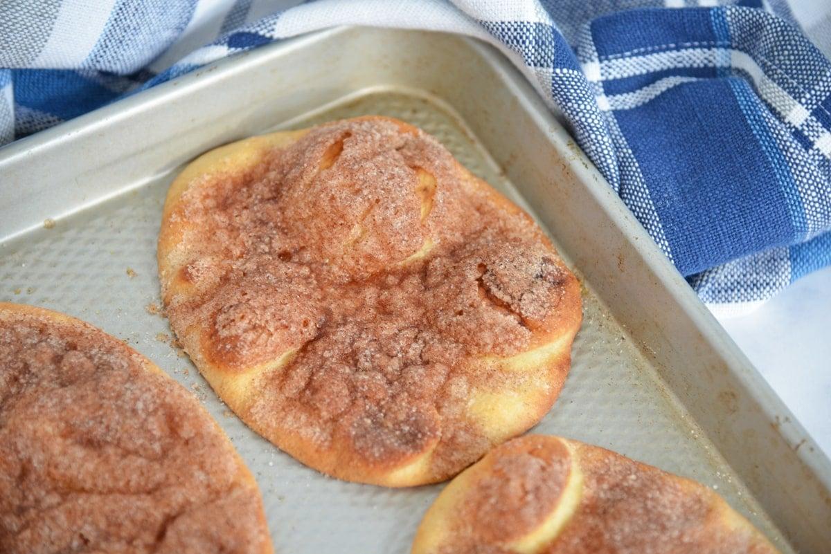 whole flatbread with crunchy cinnamon sugar topping