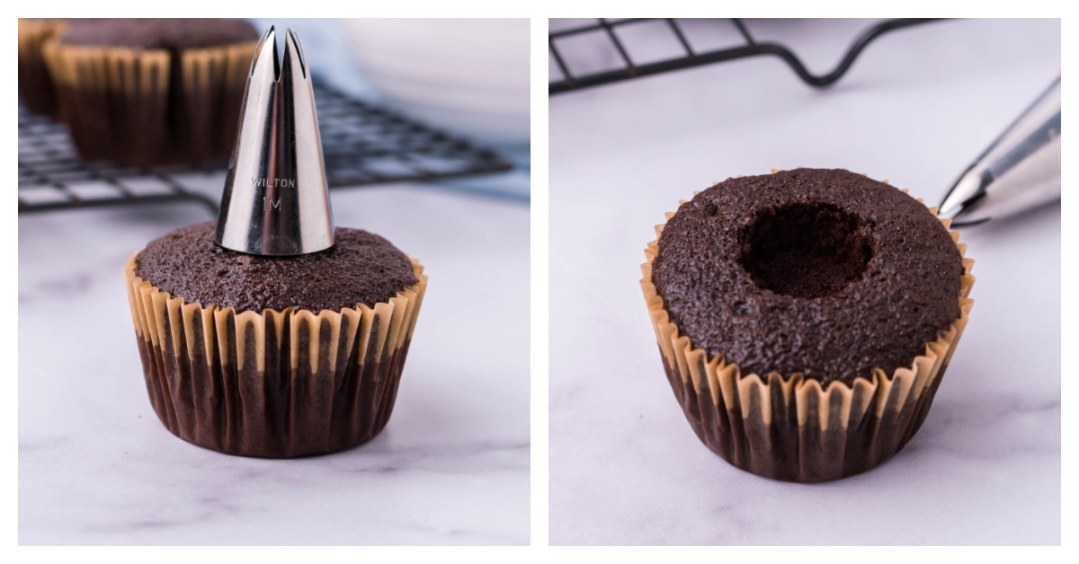 how to create a well in a cupcake