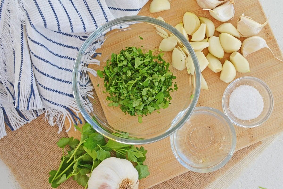 ingredients for garlic relish