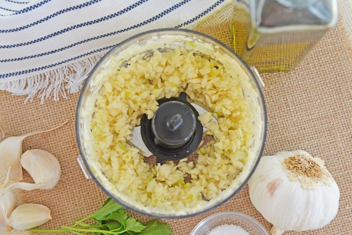 chopped garlic in a small food processor