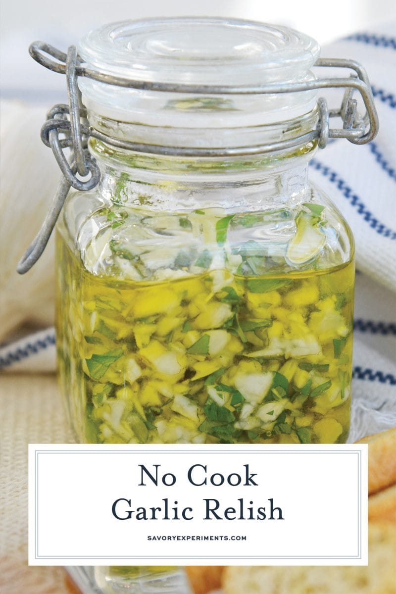 garlic relish in a glass jar for pinterest
