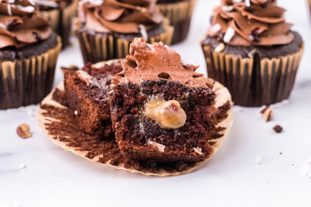 stuffed german chocolate cupcake cut in half