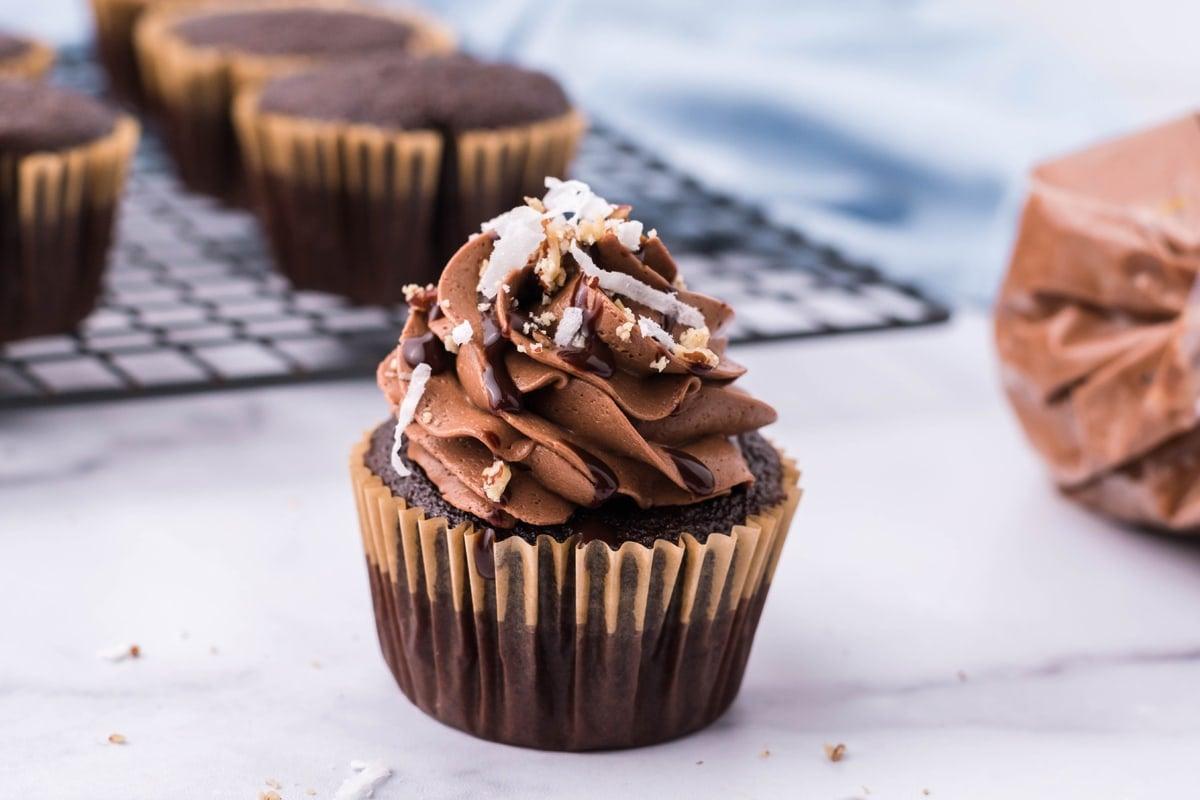angle of german chocolate cupcake