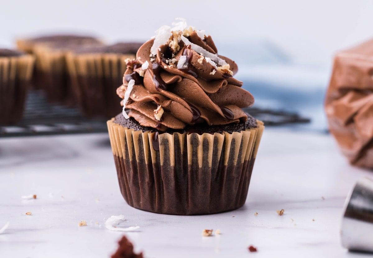 side view of stuffed chocolate cupcake