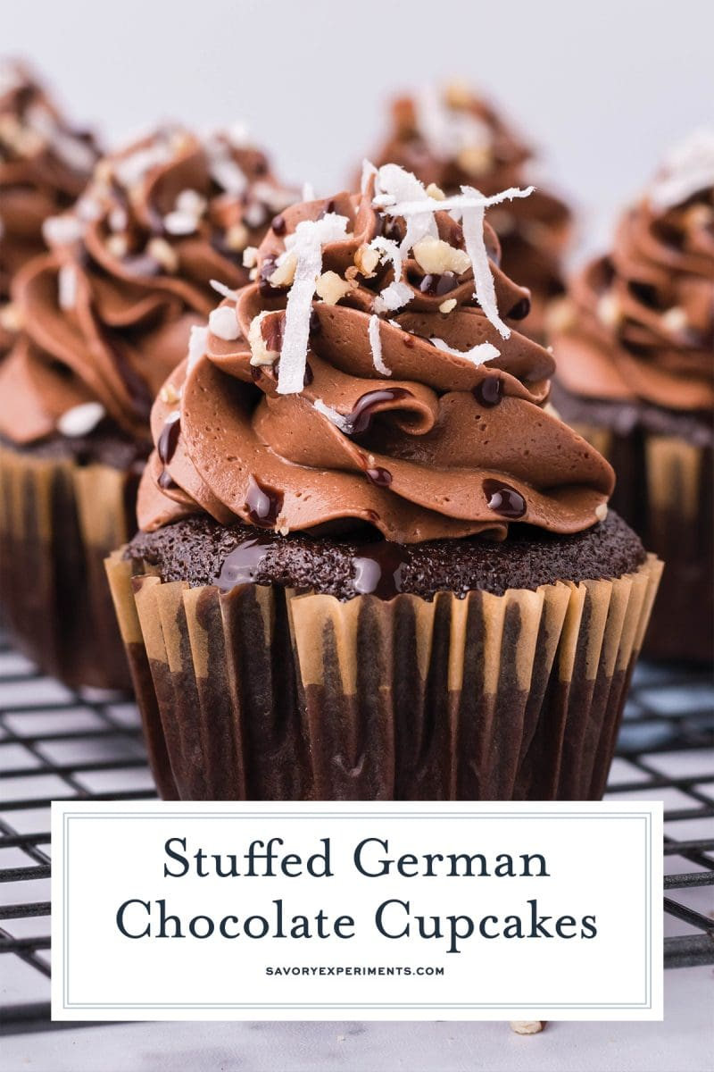 close up of german chocolate cupcakes