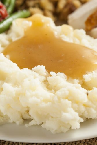 homemade gravy over mashed potatoes
