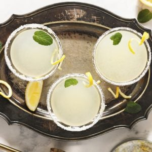 overhead of lemon drop martini