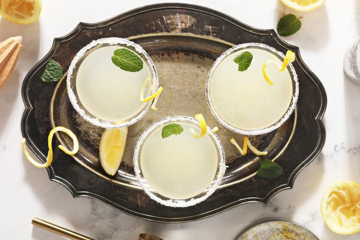 overhead of lemon drop martinis