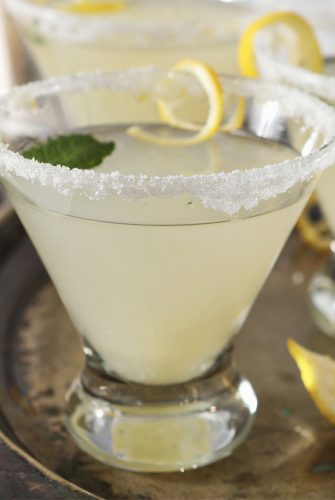 close up of lemon drop martini
