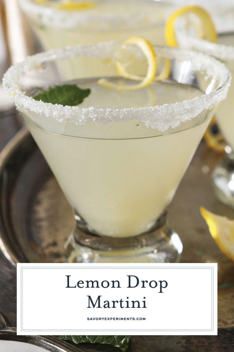 close up of lemon drop martini for pinterest