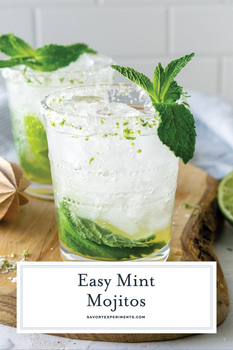 close up of easy mint mojitos for pinterest