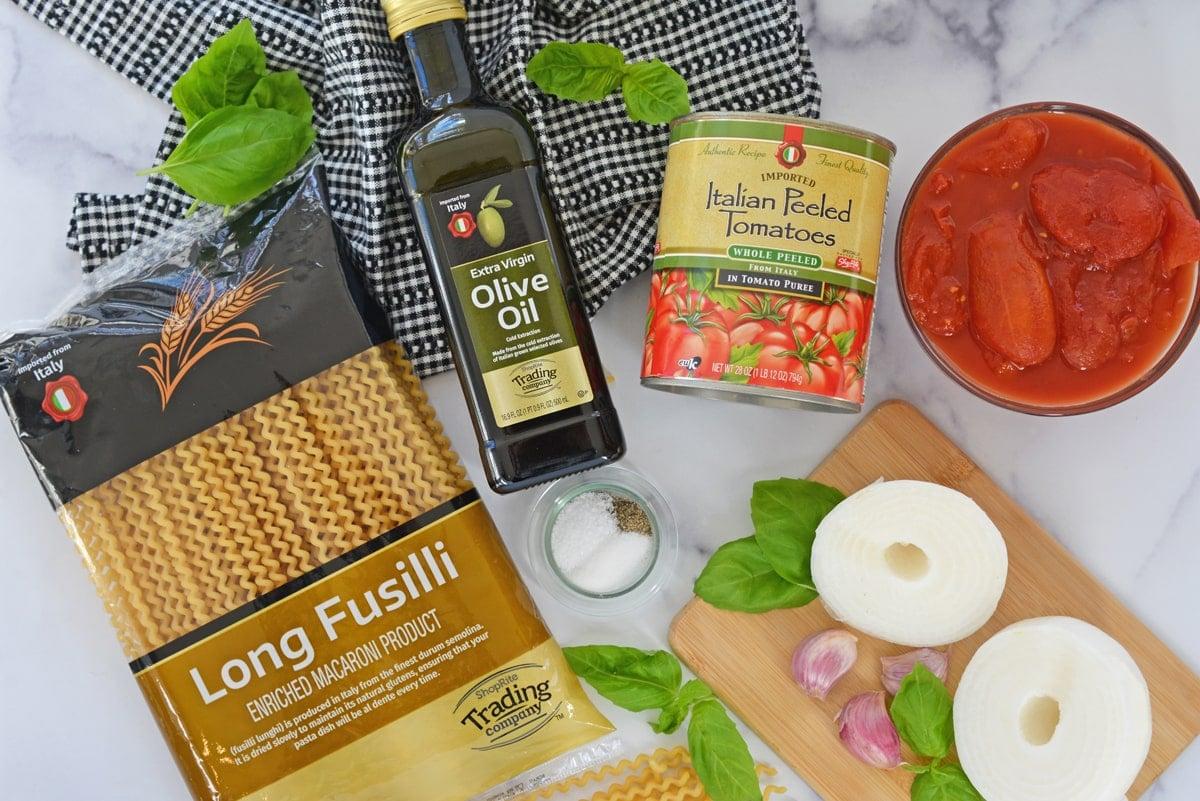 ingredients for making pomodoro sauce