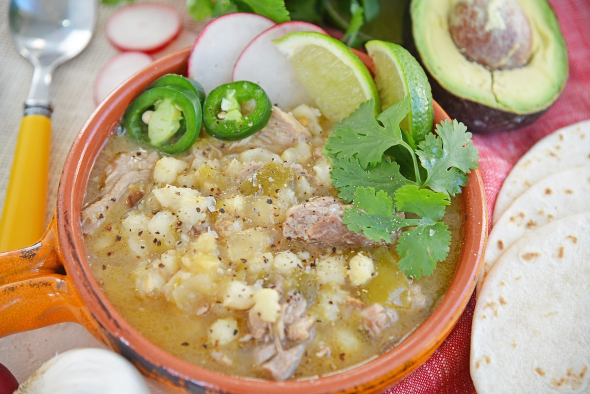 angle view of pork pozole