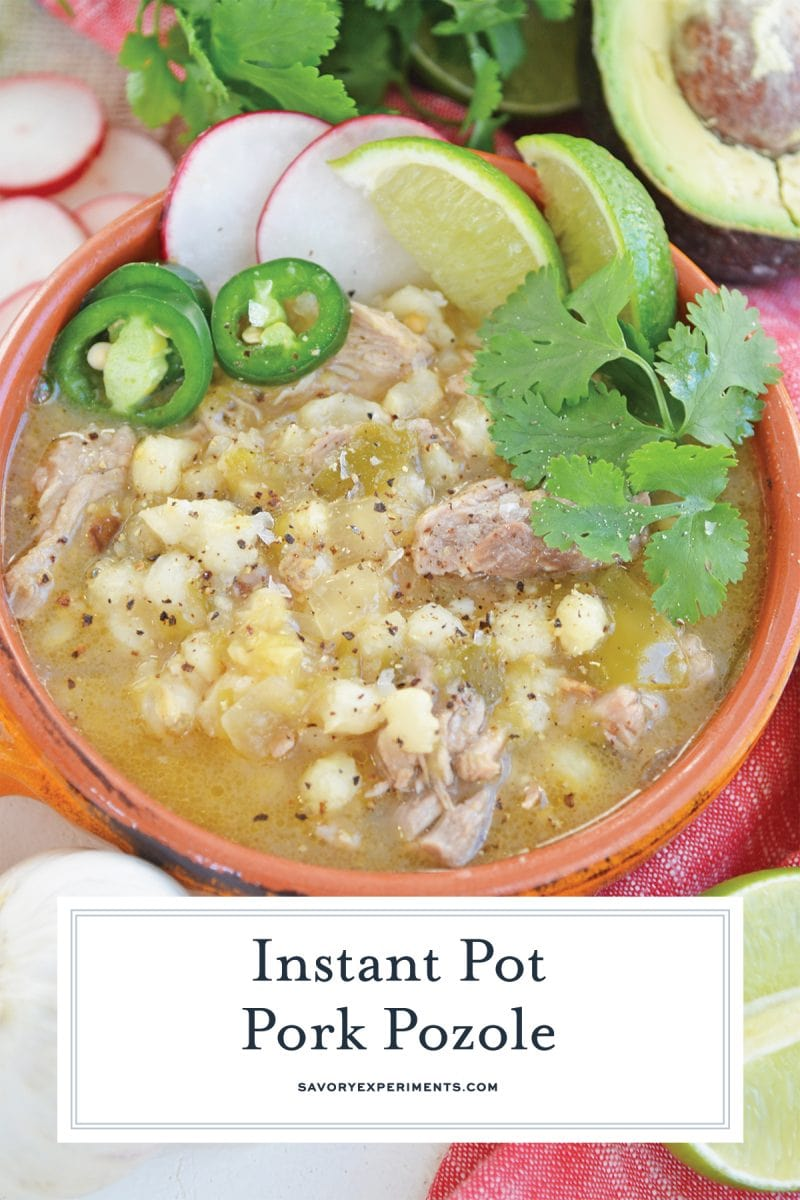close up of pork pozole for pinterest