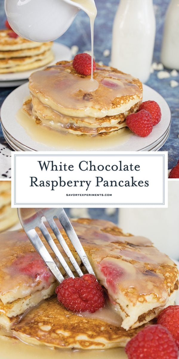 white chocolate raspberry pancakes for pinterest