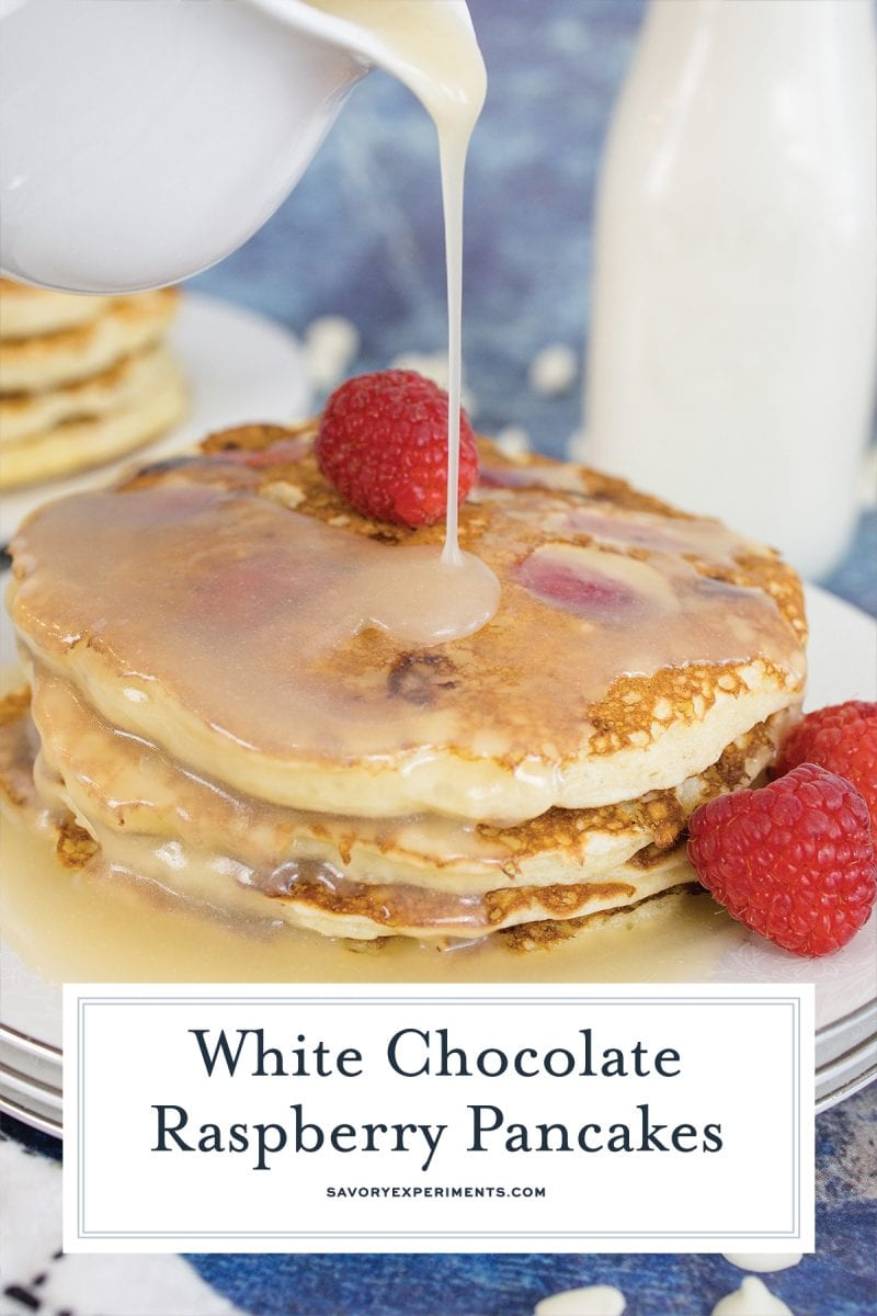 close up of white chocolate raspberry pancakes