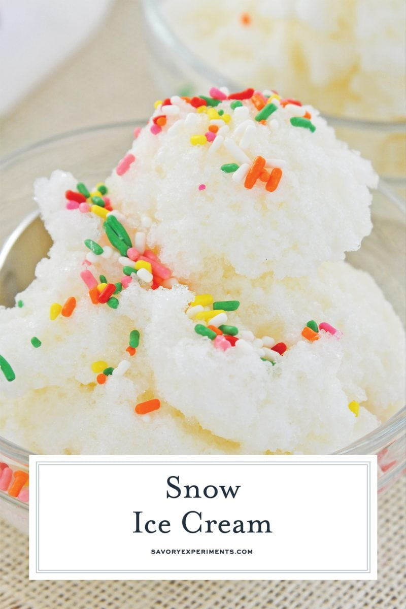 side angle of snow cream with sprinkles