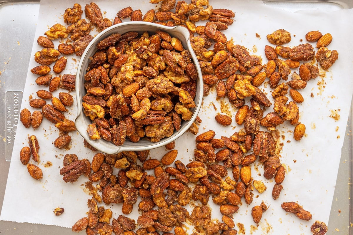 homemade party nuts on a baking sheet