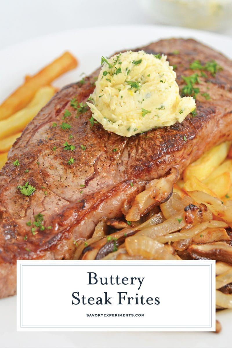 close up of butter topped steak