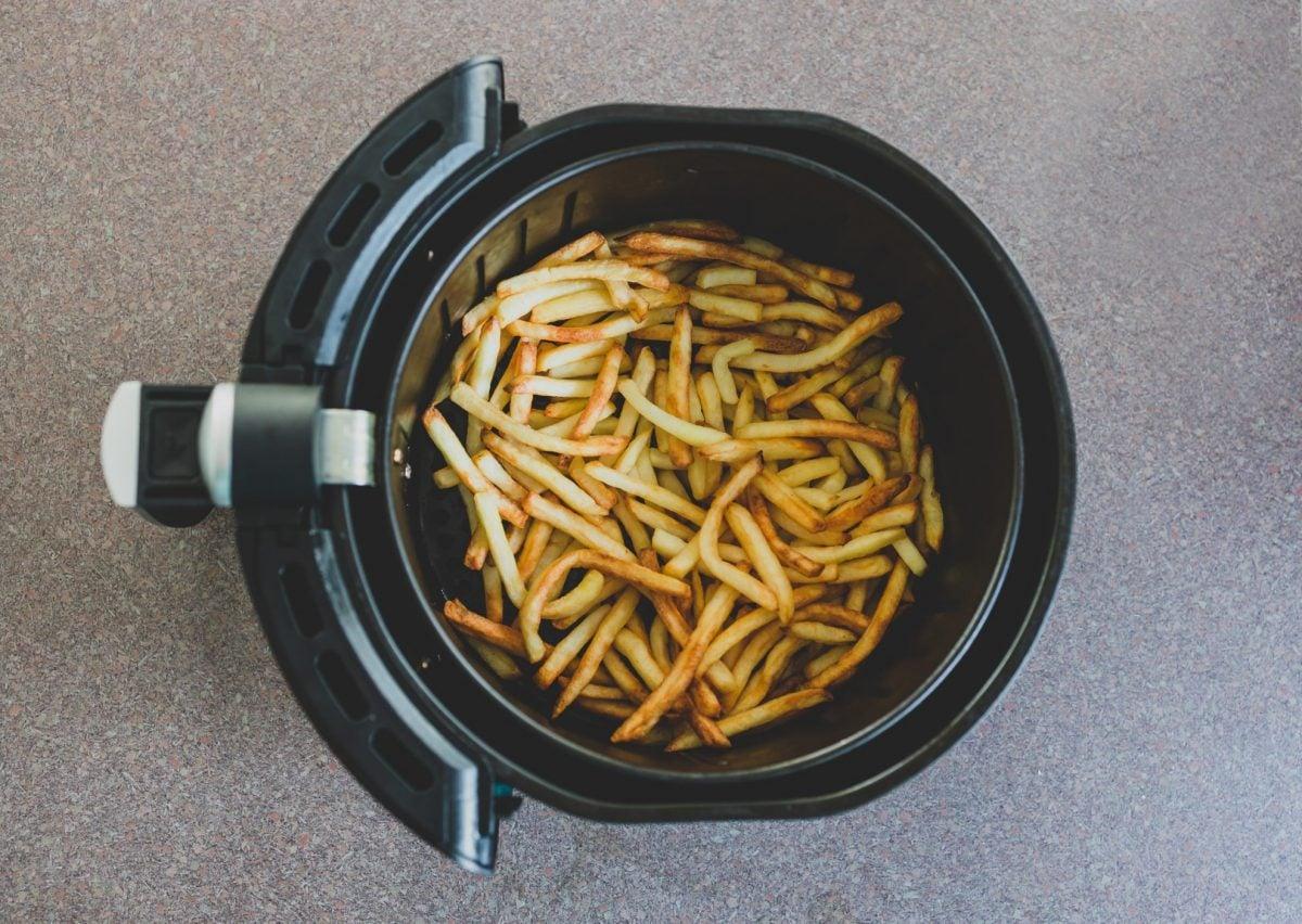 standard fries in an air fryer basket