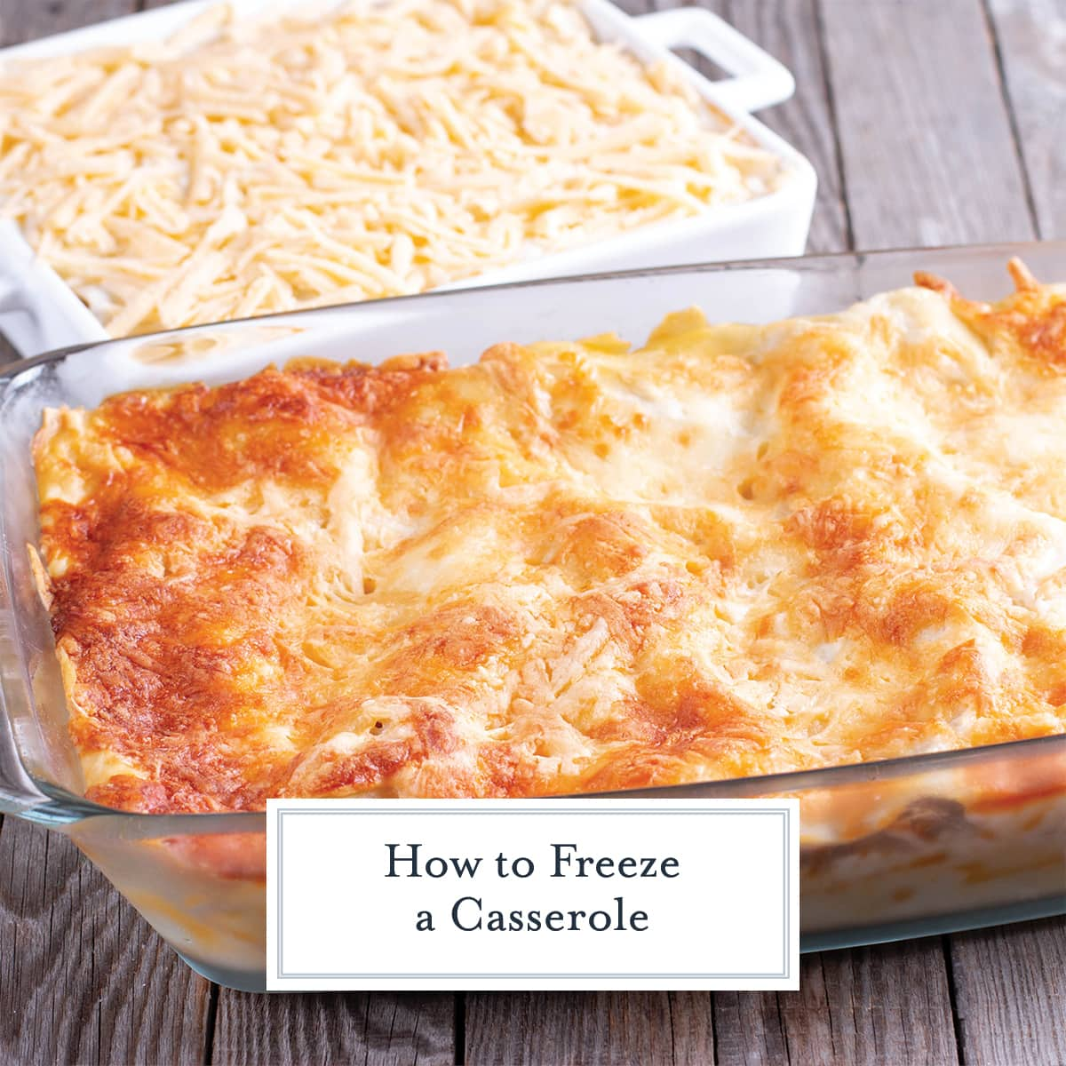 two cheese topped casseroles- one cooked and one uncooked
