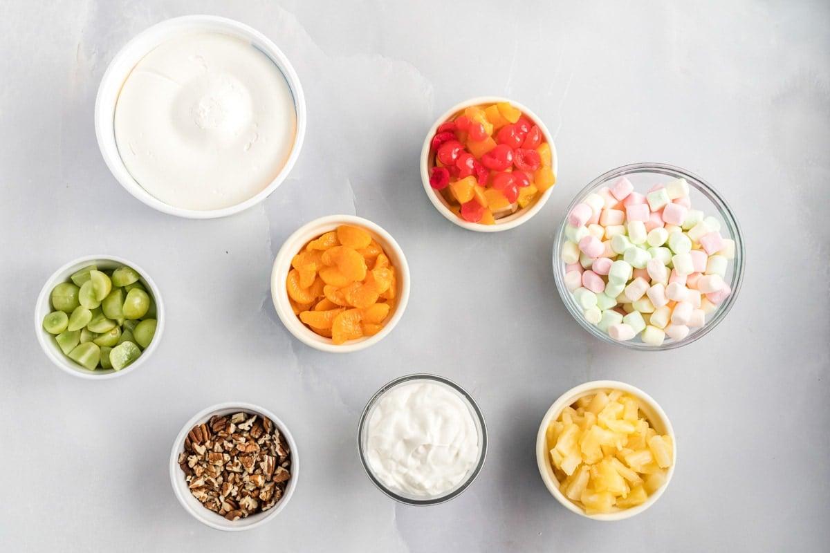 ingredients for ambrosia fruit salad
