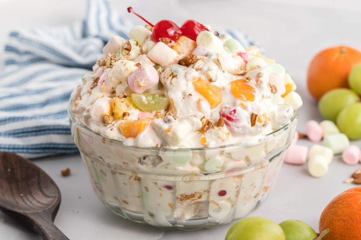 angle view of ambrosia salad in a glass bowl