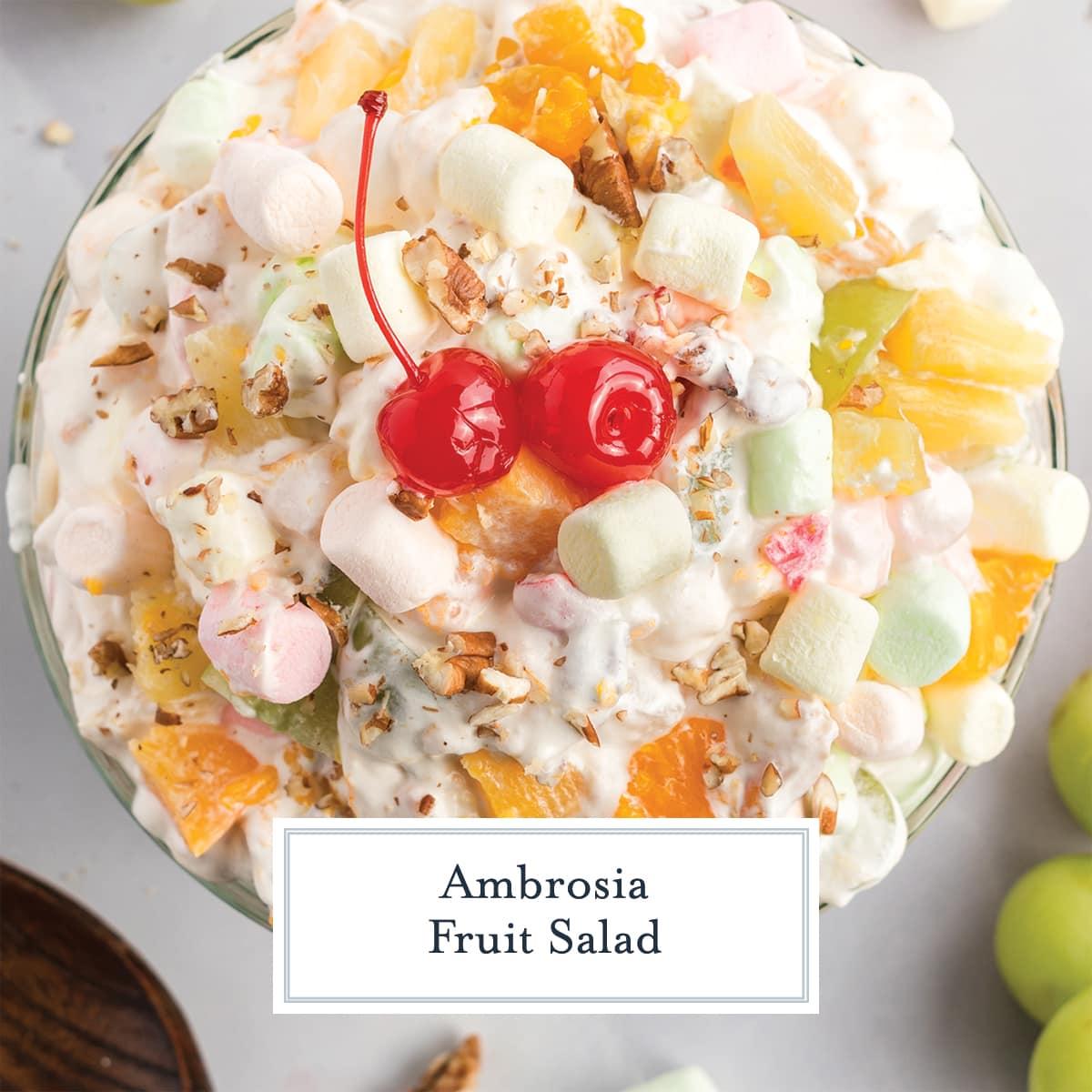 overhead close up of ambrosia salad