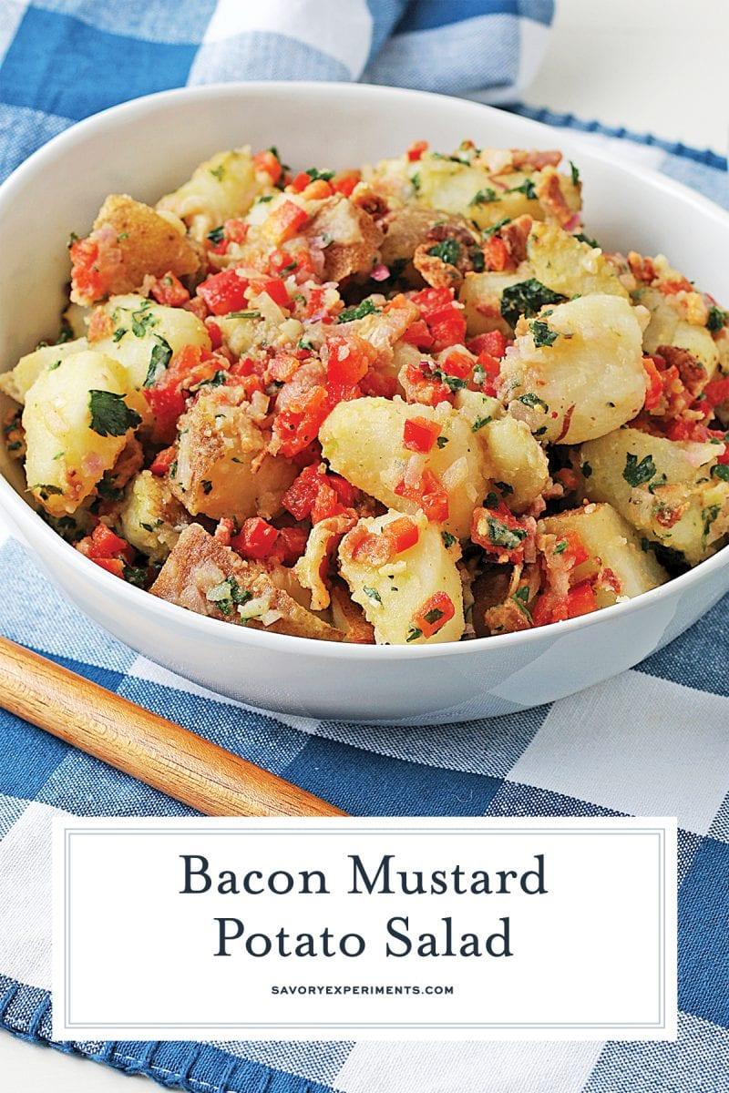close up of potato salad for pinterest