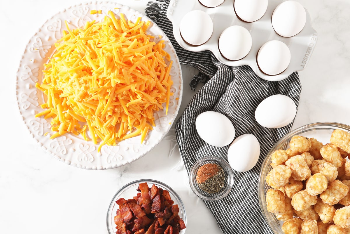 ingredients for breakfast tater tot casserole