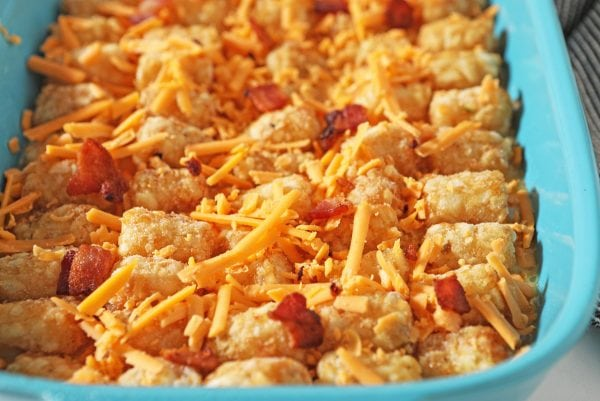 cheese and bacon on egg casserole