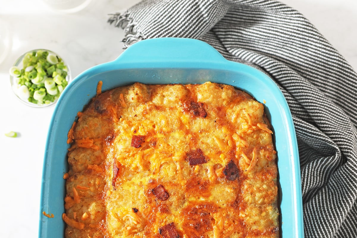 overhead of baked egg tater tot casserole