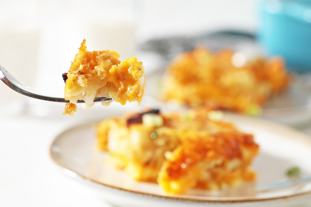 bite of cheesy breakfast casserole