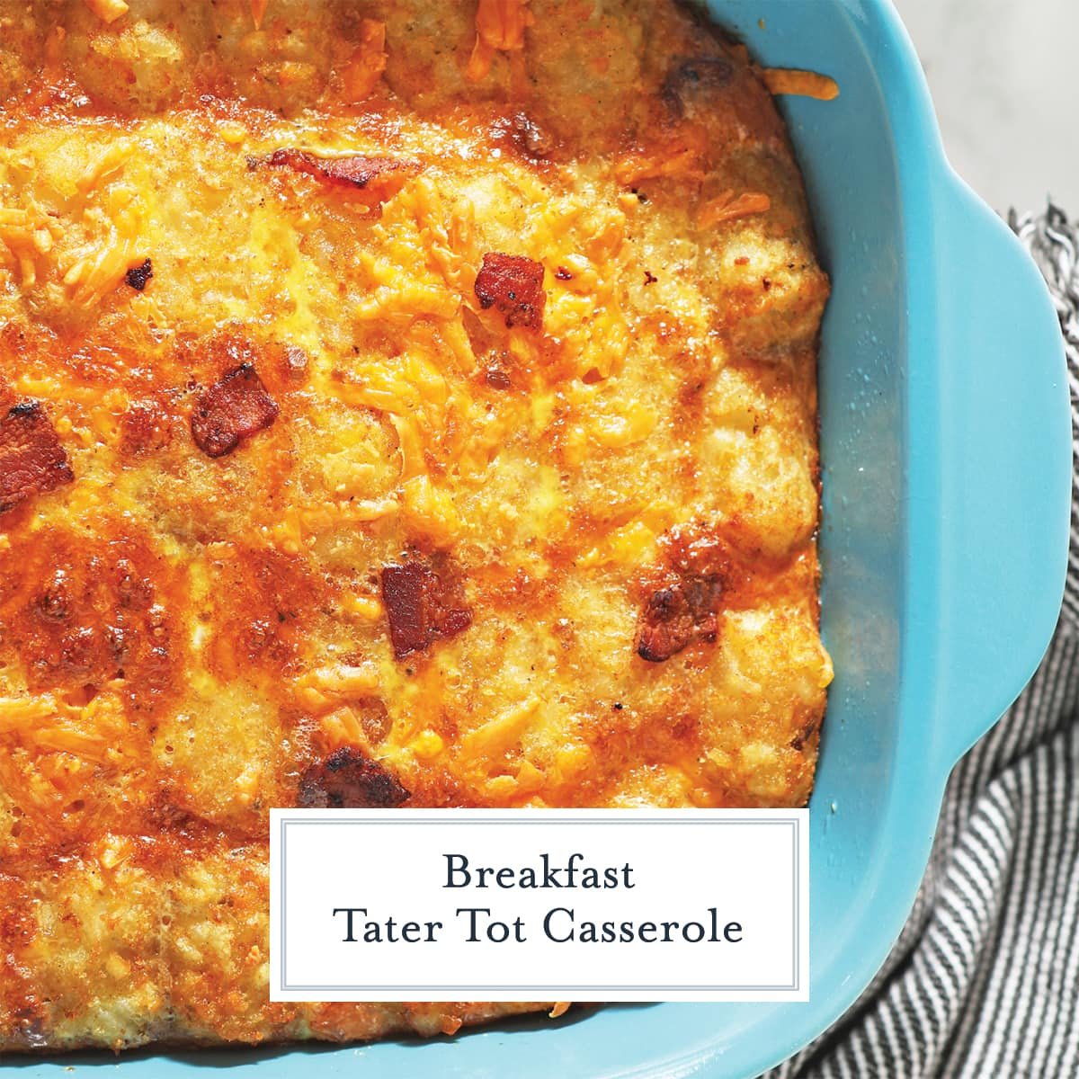 overhead of tater tot casserole with bacon and cheese