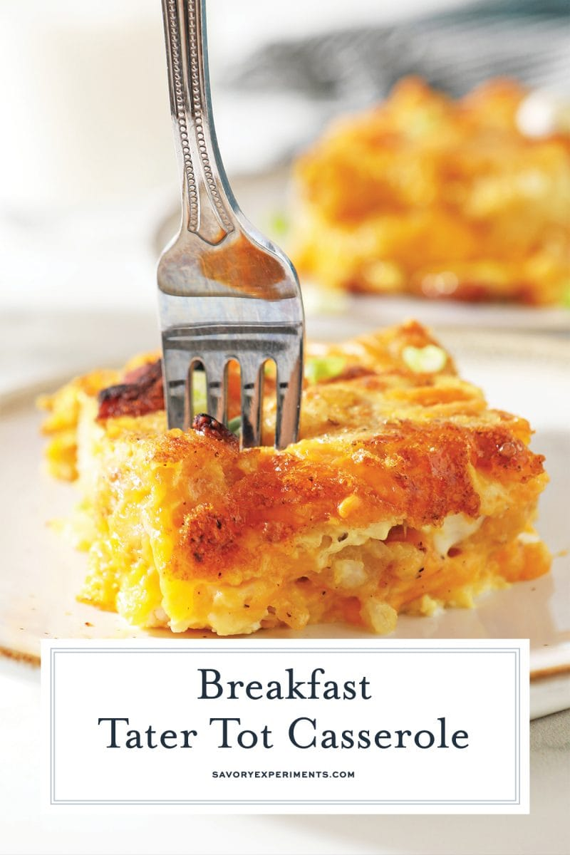 fork digging into cheesy breakfast casserole