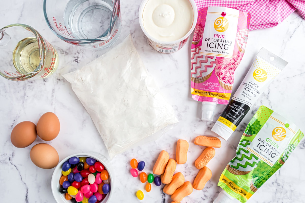 ingredients for easter bunny cupcakes