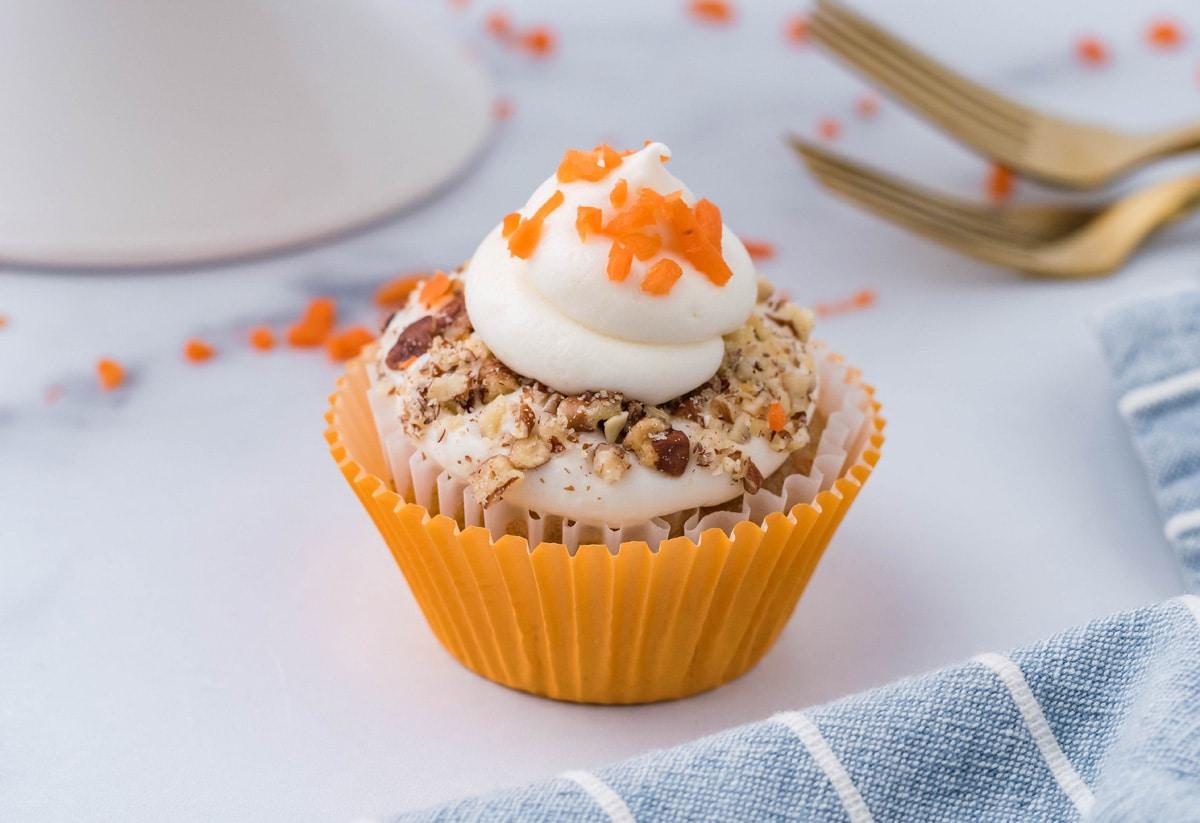 angle of cream cheese carrot cake cupcake