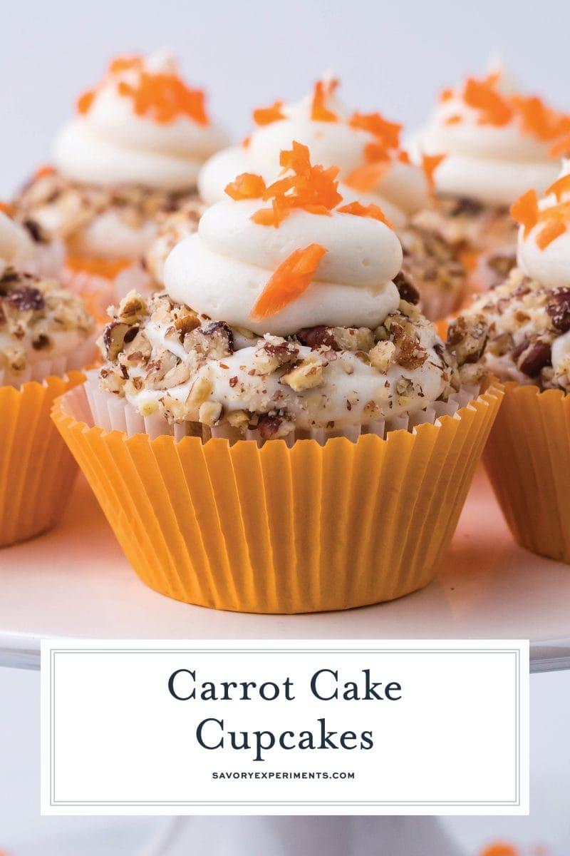close up of carrot cake cupcakes