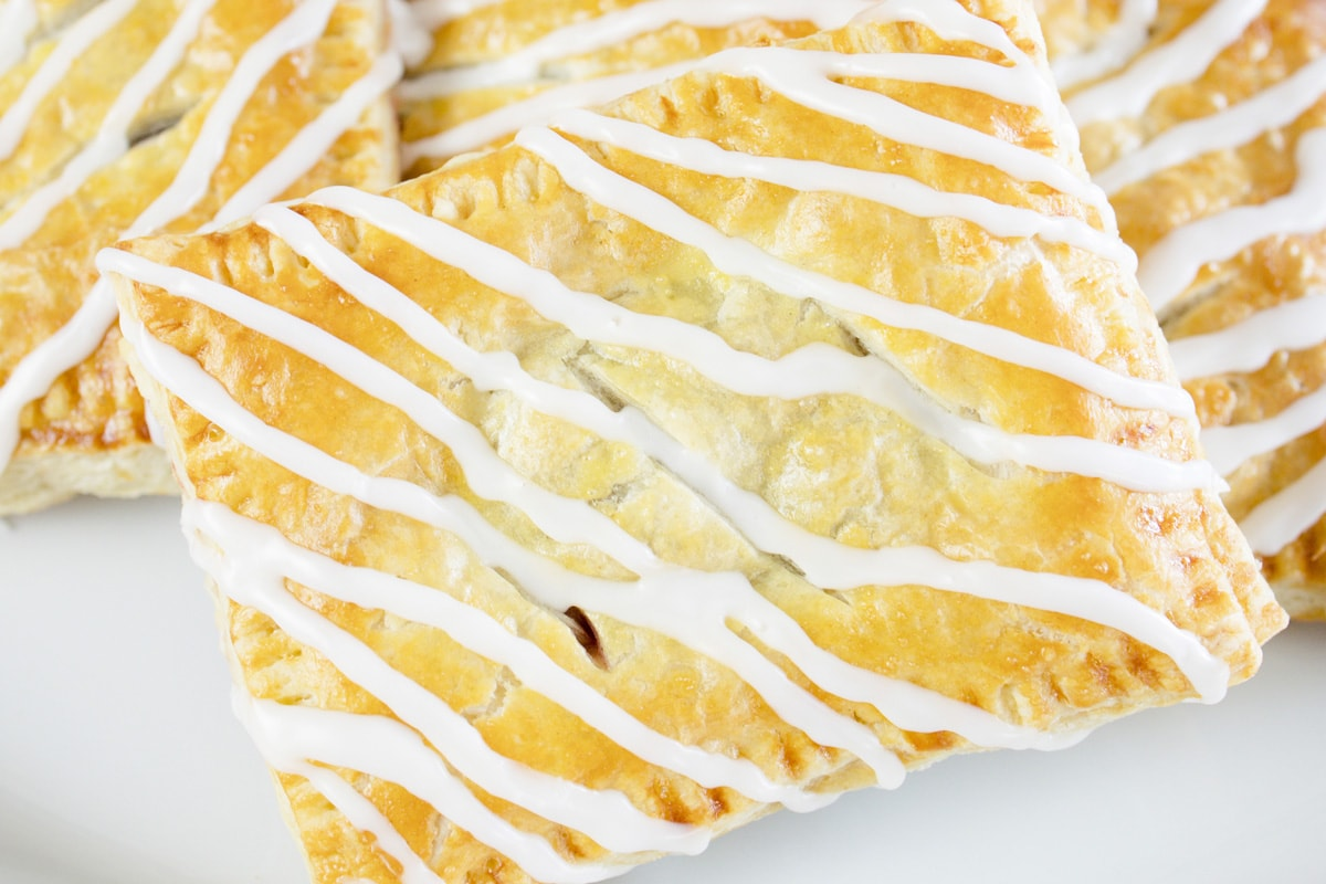 angle view of glazed cherry hand pie