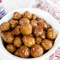 grape jelly meatballs in a bowl