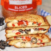 greek grilled cheese melt on a plate