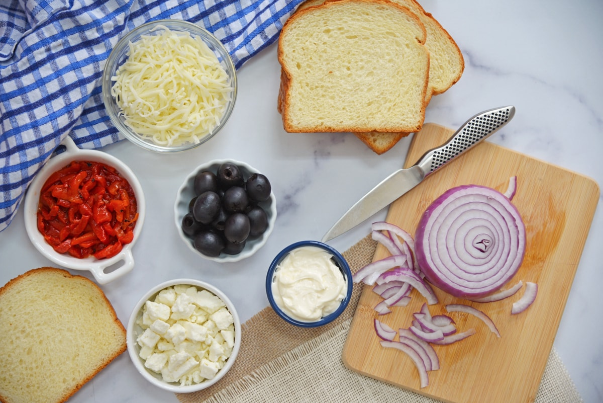 ingredients for greek grilled cheese melt