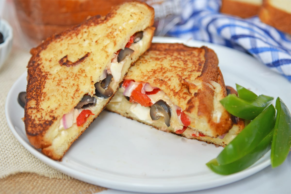 angle of greek grilled cheese melt sandwich