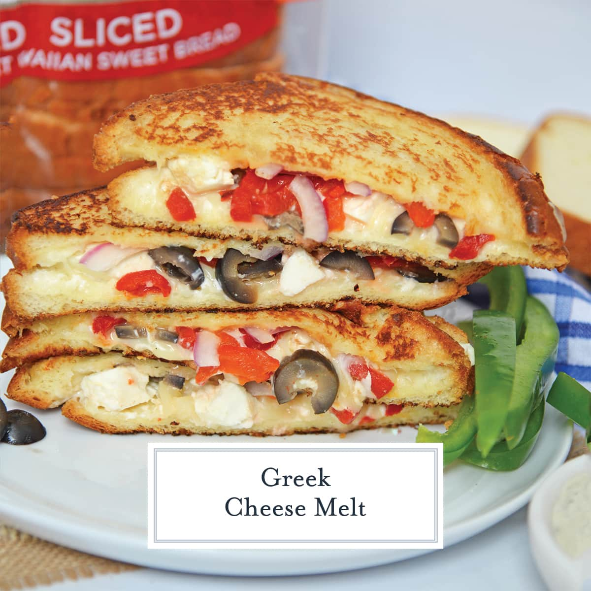 angle view of greek cheese melt