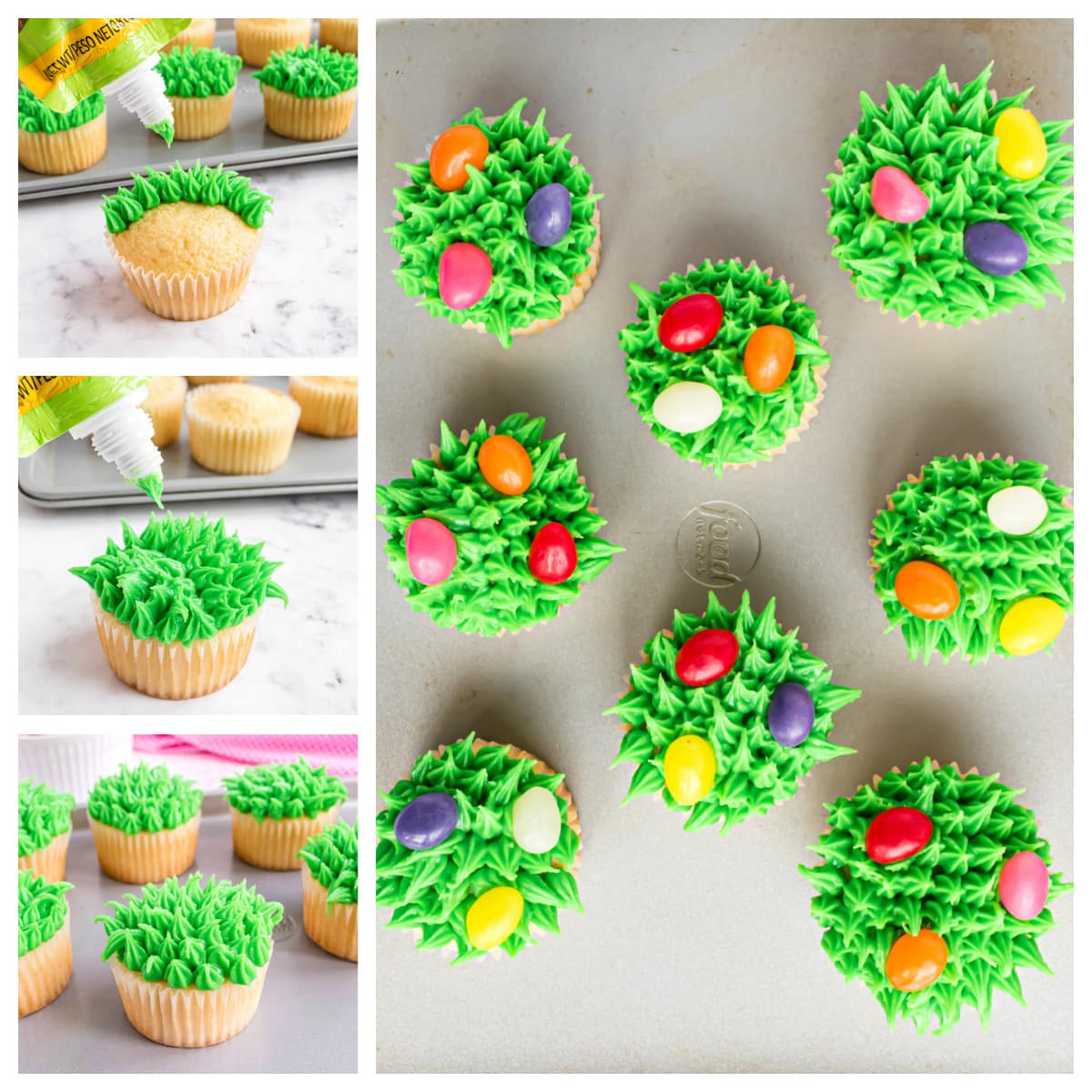 how to make grass and easter eggs on cupcakes