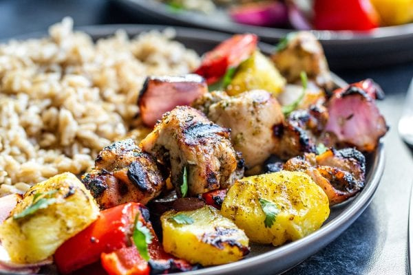 chicken kabobs on a plate