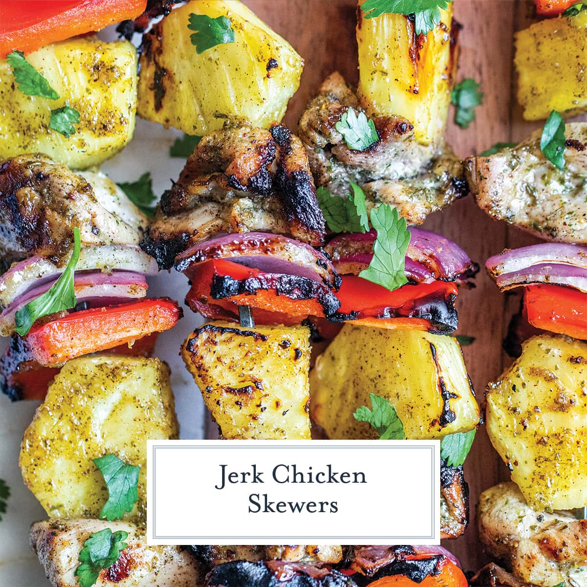 close up of chicken skewers with jerk marinade
