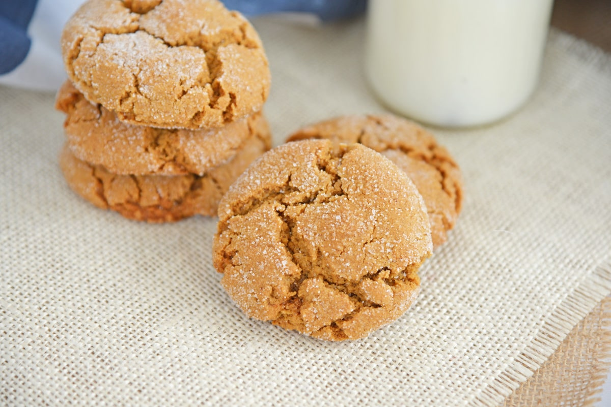 soft molasses cookies on white burlap
